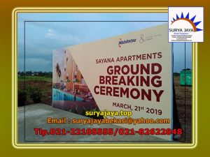 Menyewakan Backdrop Dalam Acara Ground Breaking Ceremony Apartement Sayana