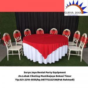 Sewa Meja Bulat Cover Merah Putih Jakarta