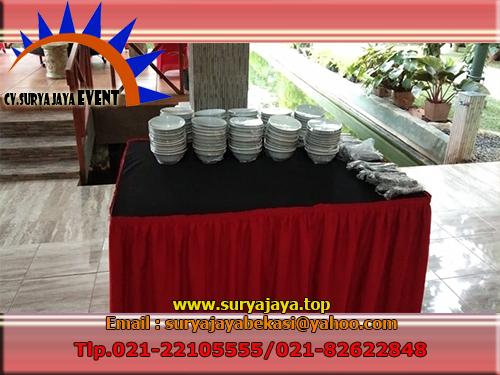 Sewa Meja Alat Catering Dan Kursi Cover Merah Perumahan Gading Timur Karawang