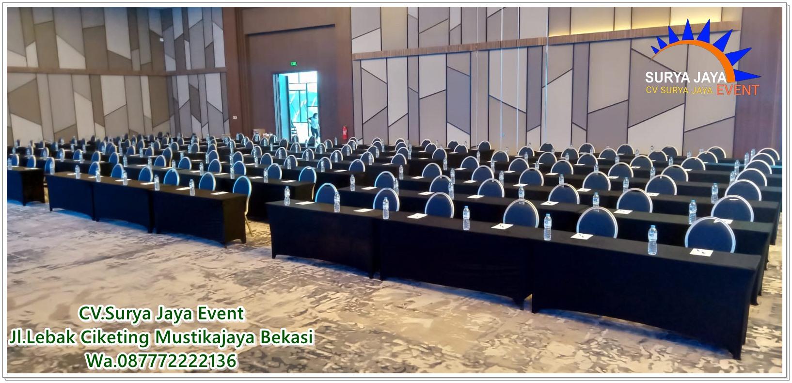 Sewa Meja Ibm Cover Hitam Untuk Acara Seminar